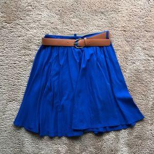 Blue flowey skirt with Light brown belt